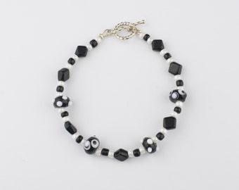 Black & White Lampwork Bead Bracelet