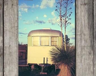 Vintage Trailer Under Blue Sky - Vintage Camping - Desert Scene - Marfa, TX - Fine Art Print - Canvas Gallery Wrap - Metal Print