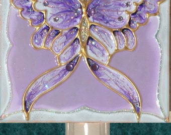 Purple butterfly etsy for Light purple bathroom accessories
