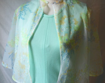 Beautiful Vintage 70's Green Dress 2 Piece Maxi Dress Shawl Cape Wrap Floral Sears Fashions S / M Sleeveless