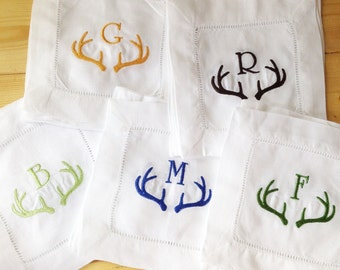 Monogram Hemstitch Cocktail Napkins with Antler Horns/ Monogram Gift - Set of 4 /