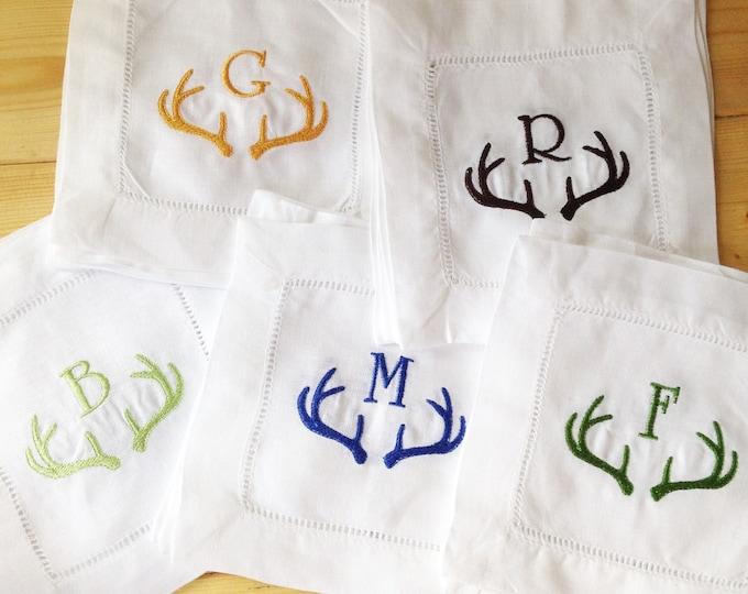 Featured listing image: Monogram Hemstitch Cocktail Napkins with Antler Horns/ Monogram Gift - Set of 4 /