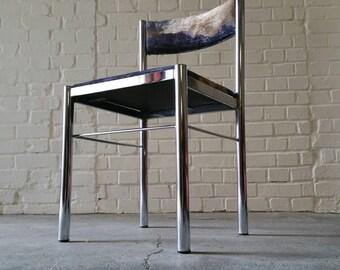 Mid Century Modern New Upholstered Chrome Desk Chair Velvet Abstract Fabric Blue Brown Purple Milo Style