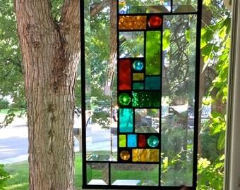 Panneau de fen tre vitrail rond avec fleur en par for Panneau de fenetre