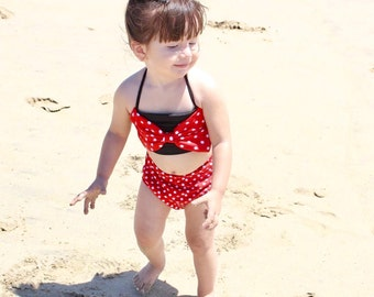 Toddler High Waisted Bikini. Mommy and Me matching swimsuit. Minnie inspired Retro Style Red White Polka Dots Bow Top & High Waist Bottoms!