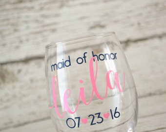 Bridesmaid wine glass / maid of honor personalized wedding stemless wine glass / bridal party