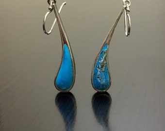 Sterling Silver Turquoise Earrings - Silver Turquoise Drop Earrings - Pear Shape Turquoise Dangling Earrings - Turquoise Handmade Earrings