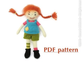 PDF Pippi longstocking doll knitting pattern/ Instant download