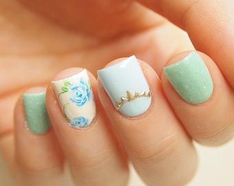 Blue roses nail stickers/ Floral nail art water decals/ Blue nail stickers/ Decals for nails/ Nail decorations/ Nail art// art. ble043