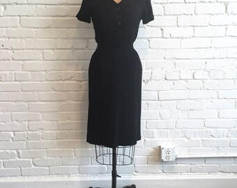 1950s Black Linen Dress // 50s Little Black Dress LBD // Vintage 1950s Black Wiggle Dress