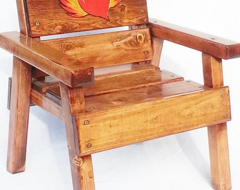 Kids Wood Chair, Childrens Reclaimed Wood Furniture, Toddler Boy / Girl, Painted & Engraved Flying Heart, Wood Patio Furniture,