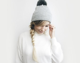 Double Brim Hat, Knit Slouchy Beanie ⨯ The Savante ⨯ in GRAY with BLACK fur pom