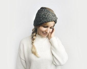 Knit Turban Headband, Twisted Earwarmer ⨯ The Roseaux ⨯ in CHARCOAL GRAY
