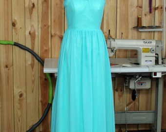 Turquoise Halter Bridesmaid Dress, Chiffon Evening Dress, Halter Sheer Neck Prom Dress, Wedding Party Dress