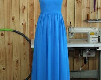 2016 Blue Bridesmaid Dress, Halter Wedding Dress Chiffon Evening Dress, Halter Sheer Neck Prom Dress, Wedding Party Dress