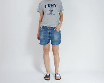 30% OFF SALE - 90s EDWIN Denim Baggy Boyfriend Fit Street Style Cut Off Shorts