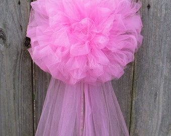 Pink Tulle Half Pom Bow, Wedding Pew, Party Decoration, Birthday, Church Aisle Chair, Bridal, Baby Girl Shower, It's A Girl, Centerpiece
