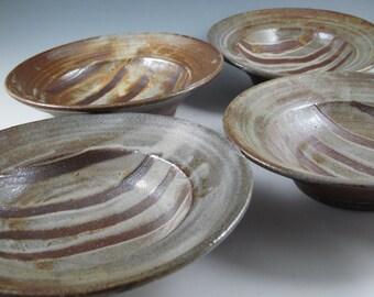 Set of bowls (4) for pasta, soup or salad, soda fired, ash glazed