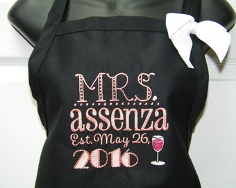 Personalized Monogrammed Mrs. Custom Wedding Apron with Married Name & Accent Design
