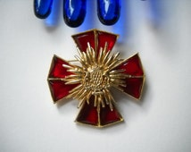 Accessocraft Brooch Maltese Cross Ruby Red Glass Faceted Stones Bretagne Brittany Shield Gold Tone Renaissance Revival Mid Century