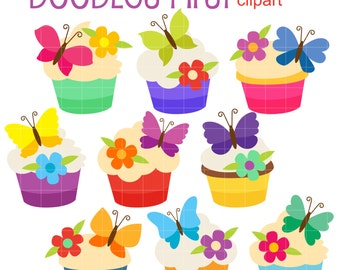 Butterfly Cupcakes Doodles Clip Art for Scrapbooking Card Making Cupcake Toppers Paper Crafts