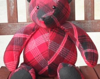 "Red plaid Fleece 16"" Teddy Bear"