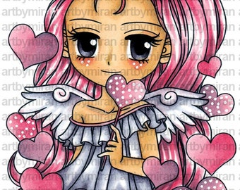 Digital Stamp - Angel of Hearts (#278), Digi Stamp, Coloring page, Printable Line art for Card and Craft Supply
