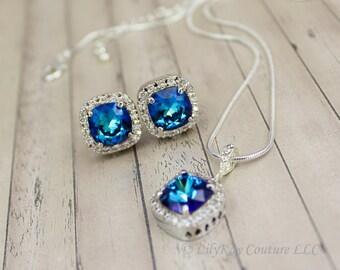 Sapphire Bridal Jewelry Blue Earring Sapphire Bridal Earring September Birthstone Swarovski Jewelry Cobalt Blue Bridesmaid Horizon