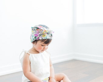 Baby Headwrap, Baby Turban, HeadBand, Watercolor Floral Print, Pink Beige, Newborn - Adult