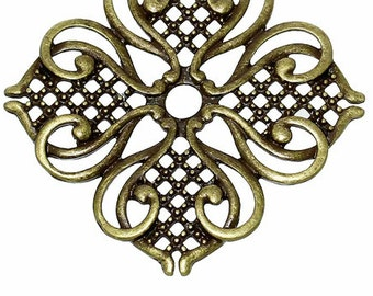HEAVY Filigree Stamping Embellishments Findings Flower Hollow Antique Bronze - Pack of 5