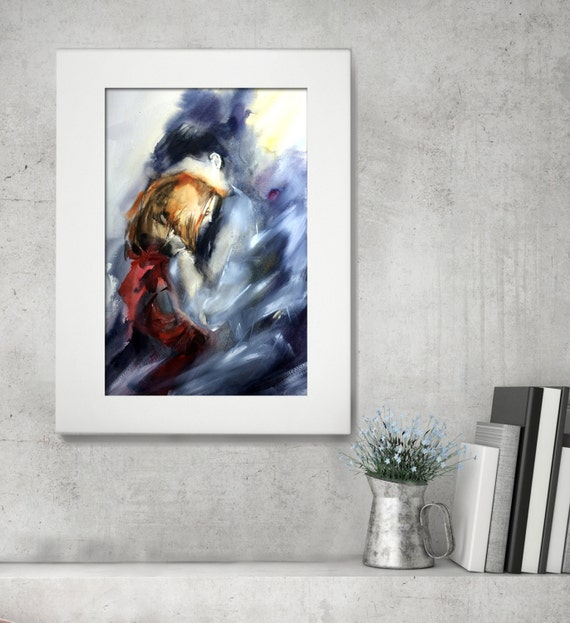 Original Watercolor Painting Love Couple Love By CanotStop