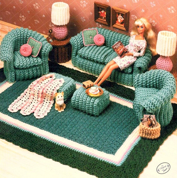 Vintage Crochet Pattern Pdf Fashion Doll Home Decor House