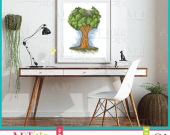 Tree Wall Art, Nature Wall Art, Tree of Life, Green Tree Wall Art, Printable wall art, instant download