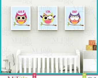 Nursery Wall Art, Owl Wall Art, Fat Owl Girls Wall Art, Pink Owls, Purple Owls, Green Owls,