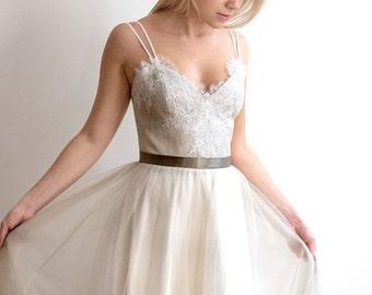 Tulle wedding dress, light olive grey dress, EU36 size READY TO SHIP!