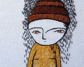 Hand embroidery. Portrait woman. Hoop art. 20 cm