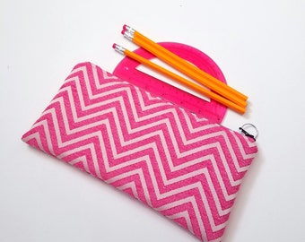 FINALPRICE CLEARANCE Pink Chevron Zippered Pencil Case / Medium Weight Upholstery Fabric