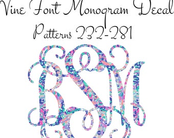 Lilly Decal, Lilly Pulitzer Inspired Monogram Decal, Car Monogram, Patterned Decal, Vine Font Monogram Decal Patterns 232-281