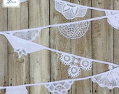 Vintage Lace Doily Wedding Bunting - Baby Crochet Bunting - Christening Garland - Ivory White  (Snowdrop) - by Daisies Blue - 3 metre length