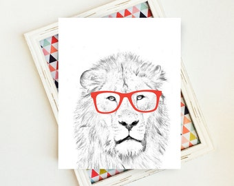 Safari Nursery, Safari Wall Art, Safari Animals, Lion Print, Animal Nursery, Lion with Glasses, Lion Art, Animal Print, PRINTABLE