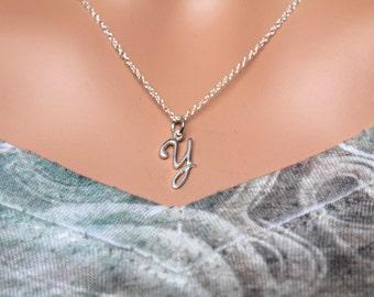 Sterling Silver Cursive Y Initial Necklace, Y Letter Necklace, Cursive Y Initial Necklace, Silver Y Letter Necklace, Y Letter Necklace