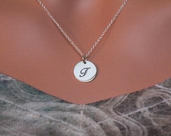 Sterling Silver Cursive Circular T Initial Charm Necklace, Cursive T Initial Necklace, Large T Letter Necklace, T Necklace, T Charm Necklace