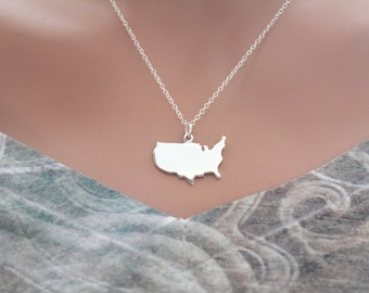 Sterling Silver United States Charm Necklace, Simple United States Charm Necklace, Patriotic Necklace, USA Necklace, Silver USA Necklace
