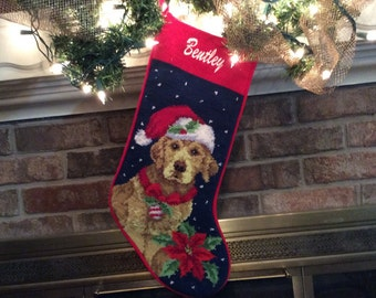 Black Dog Bone Personalized Christmas Stocking Christmas