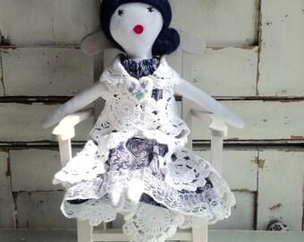 Cloth rag doll, soft rag doll, OOAK cloth doll, birthday gift doll, doll for her,  anniversary gift,  No4