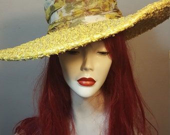 FREE  SHIPPING  1950 Large  Brim Straw Hat