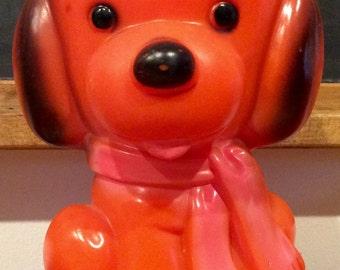 1970 Dreamland Creations Bright Orange Puppy Dog Coin Bank