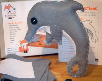Dillon the Dolphin Felt Sewing Kit - Perfect gift for kids and adults of all ages and abilities - Includes everything you need