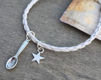 Spoon of Sugar Bracelet  - Alice In wonderland bracelet  - Spoon Bracelet - Tea Bracelet - cord bracelet - random bracelet mothers day gift