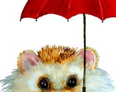 Hedgehog Art Print or Blank Greeting Card from Print of  Original Watercolor Painting Hedgehog with Red Umbrella